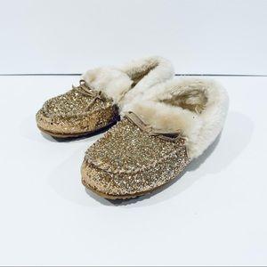 GAP Kids Gold Glitter Moccasin Slippers